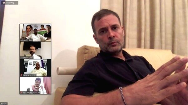Rahul Gandhi holds virtual meeting with Bihar Congress leaders, discusses election.