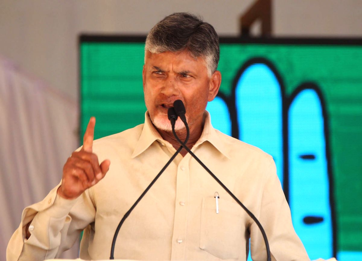 Raichur: Andhra Pradesh Chief Minister and TDP President N. Chandrababu Naidu addresses a public rally in Karnataka's Raichur, on April 19, 2019.