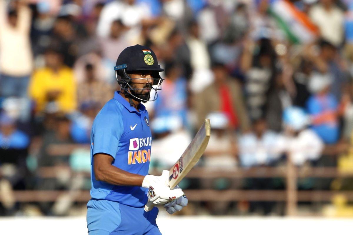 Rajkot: India's Lokesh Rahul celebrates his half century during the second ODI of the three-match series between India and Australia, at Saurashtra Cricket Association Stadium in Gujarat's Rajkot on Jan 17, 2020. (Photo: Surjeet Yadav/IANS)