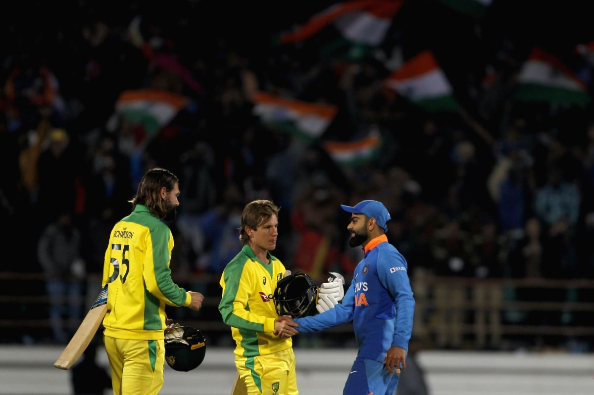 Rajkot: Indian players celebrate after winning the second ODI match against Australia, at Saurashtra Cricket Association Stadium in Gujarat's Rajkot on Jan 17, 2020. (Photo: Surjeet Yadav/IANS)