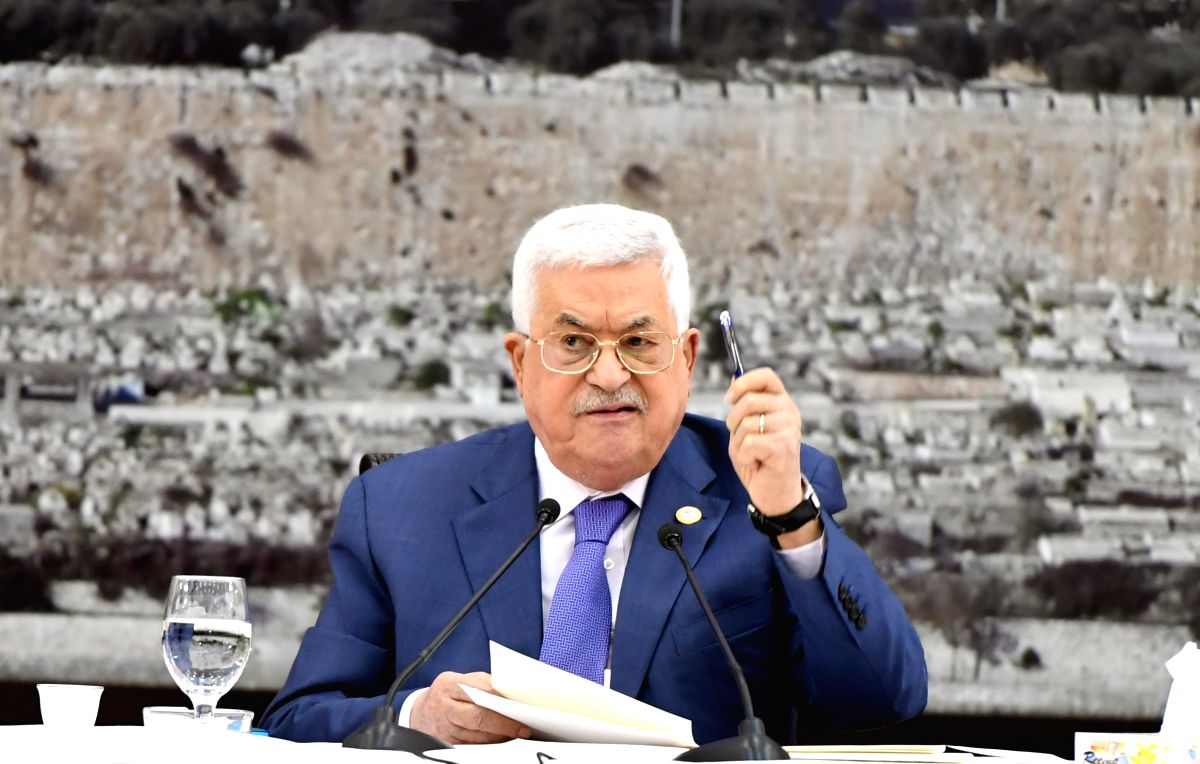 RAMALLAH, July 25, 2019 (Xinhua) -- Palestinian President Mahmoud Abbas speaks during a meeting of the Palestinian leadership in the West Bank city of Ramallah, on July 25, 2019. Palestinian President Mahmoud Abbas on Thursday declared that the Pales
