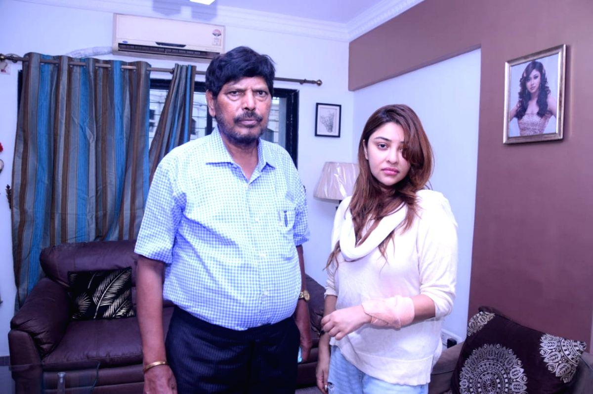 Ramdas Athawale with Payal Ghosh