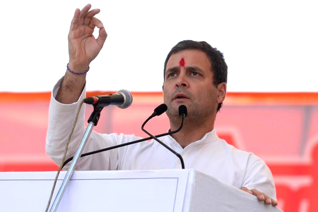 Ranchi: Congress President Rahul Gandhi addresses a party rally in Ranchi on March 2, 2019. (Photo: IANS/AICC)