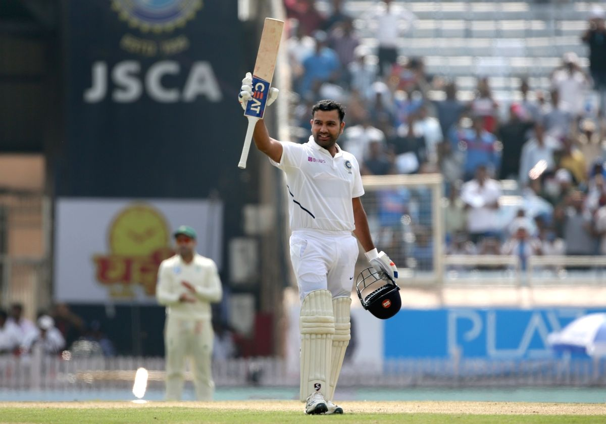 Ranchi: Indian batsman Rohit Sharma celebrates his double century during Day 2 of the 3rd test between India and South Africa in Ranchi on Oct. 20, 2019. (Photo: Surjeet Yadav/IANS)