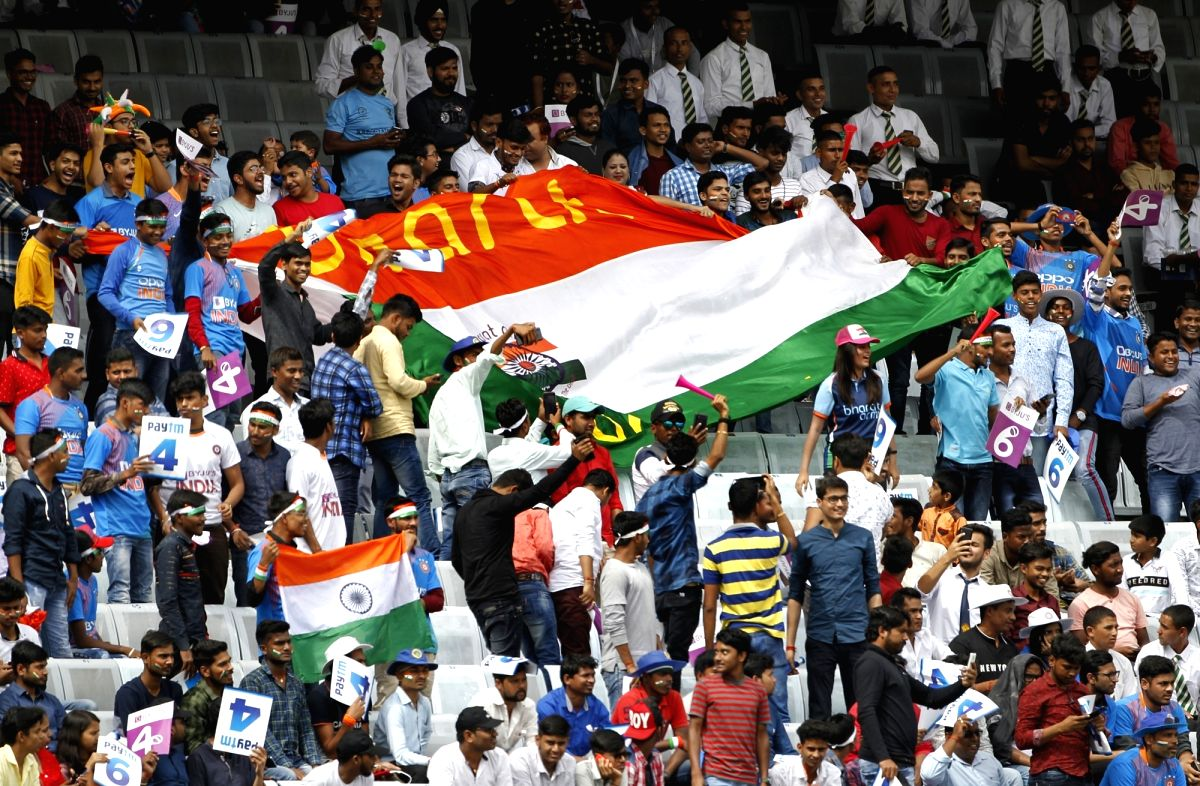 Ranchi: Indian fans cheer for their team on Day 3 of the 3rd Test match between India and South Africa at JSCA International Stadium Complex in Ranchi on Oct 21, 2019. (Photo: Surjeet Yadav/IANS)