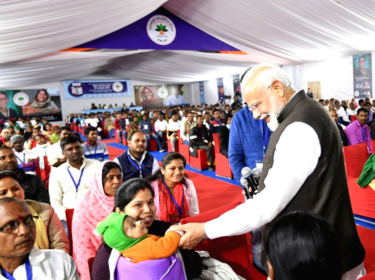 Ranchi: Prime Minister Narendra Modi interacts with the beneficiaries of Pradhan Mantri Jan Arogya Yojana - Ayushman Bharat, in Ranchi on Feb 17, 2019. (Photo: IANS/PIB)