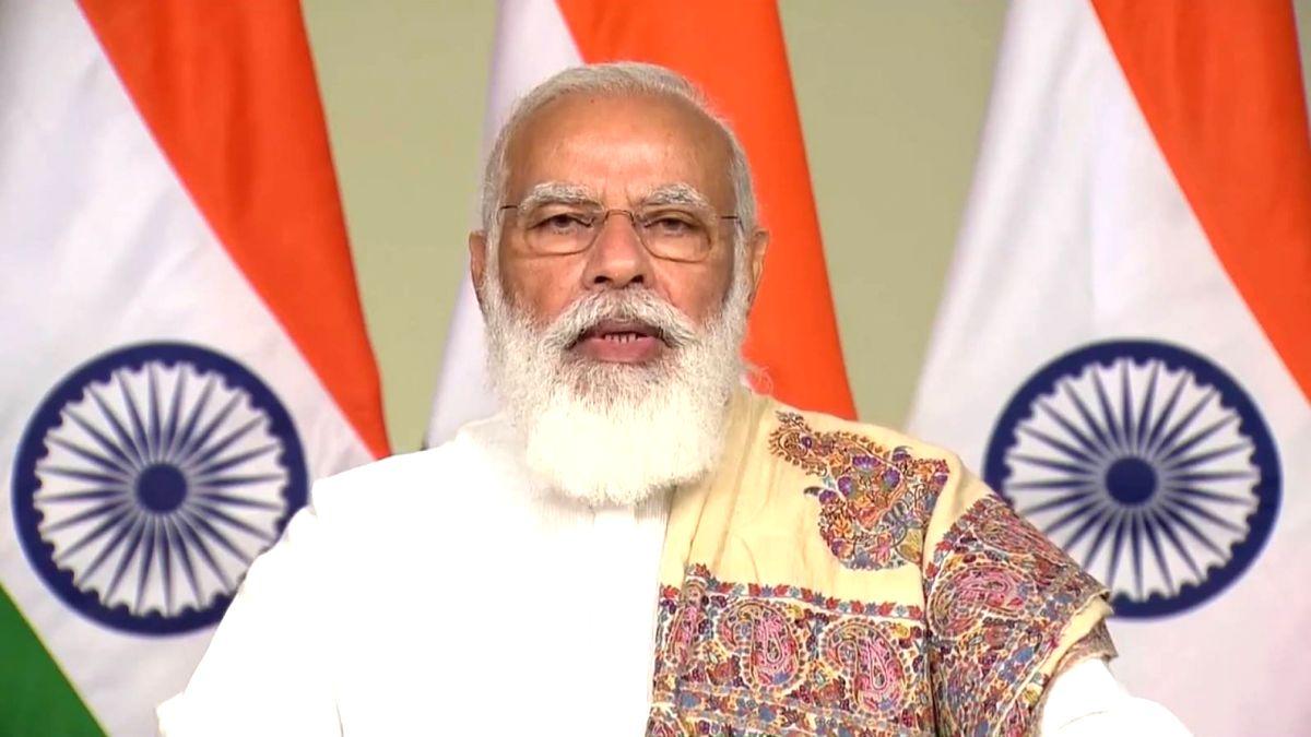 Raysan: Prime Minister Narendra Modi attends the 8th Convocation Ceremony of Pandit Deendayal Petroleum University in Raysan, Gujarat  on November 21, 2020.