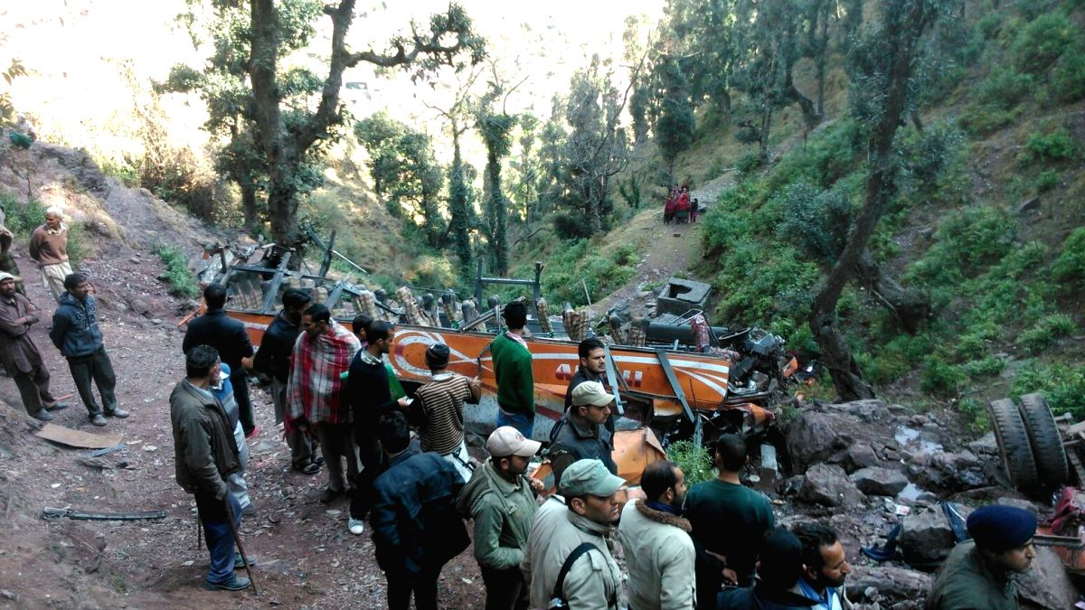 Rescue operations underway at the site where a bus fell into a gorge in Jammu and Kashmir's Udhampur district on Jan 15, 2016. At least nine people were killed and 15 injured in the ...