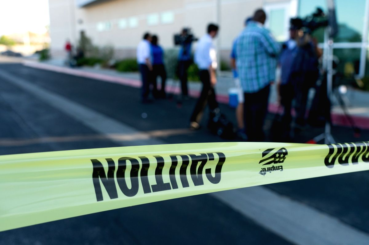 RIDGECREST, July 5, 2019 (Xinhua) -- A police cordon is seen at the affected area after the quake in Ridgecrest, California, the United States, July 4, 2019. A 6.4-magnitude earthquake jolted a remote area in the Searles Valley in the U.S. western st