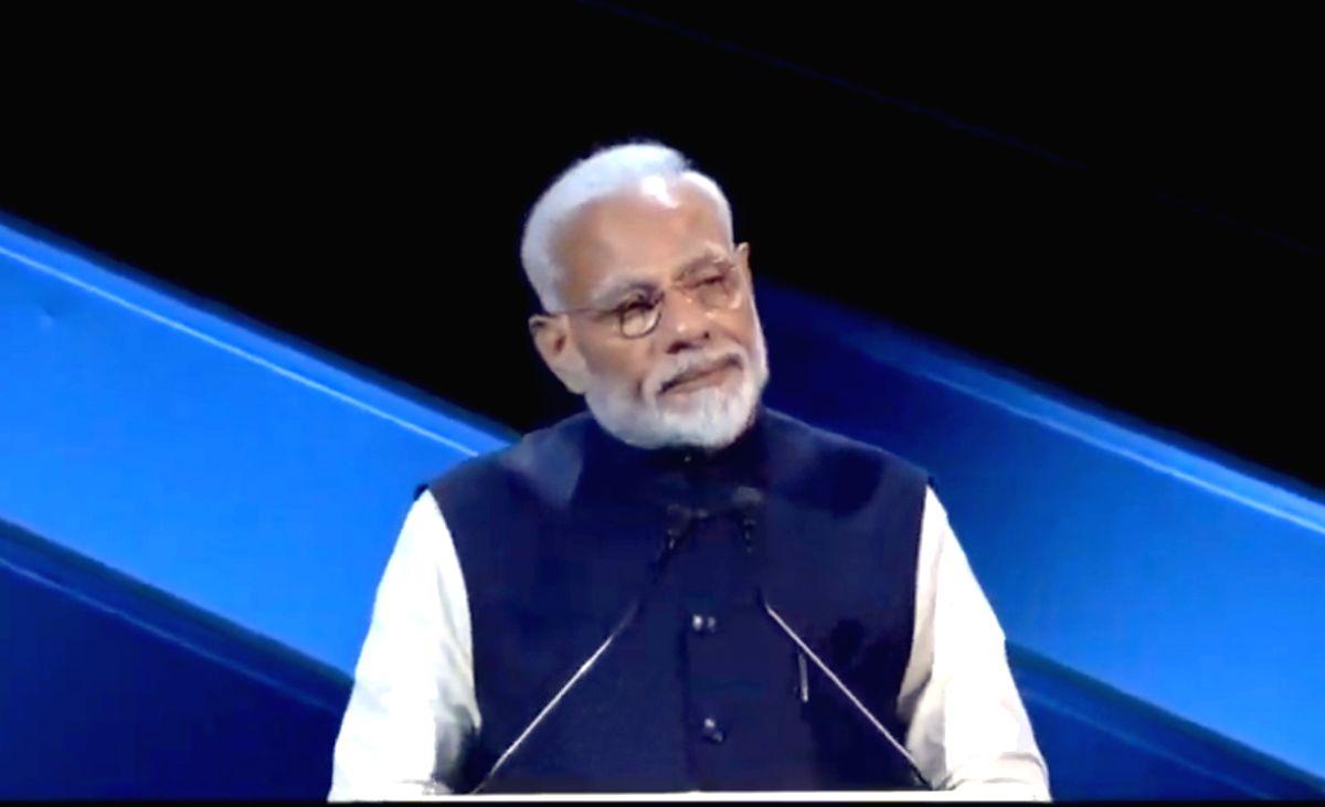 Riyadh: Prime Minister Narendra Modi addresses at the Future Investment Initiative Forum in Riyadh, Saudi Arabia on Oct 29, 2019.