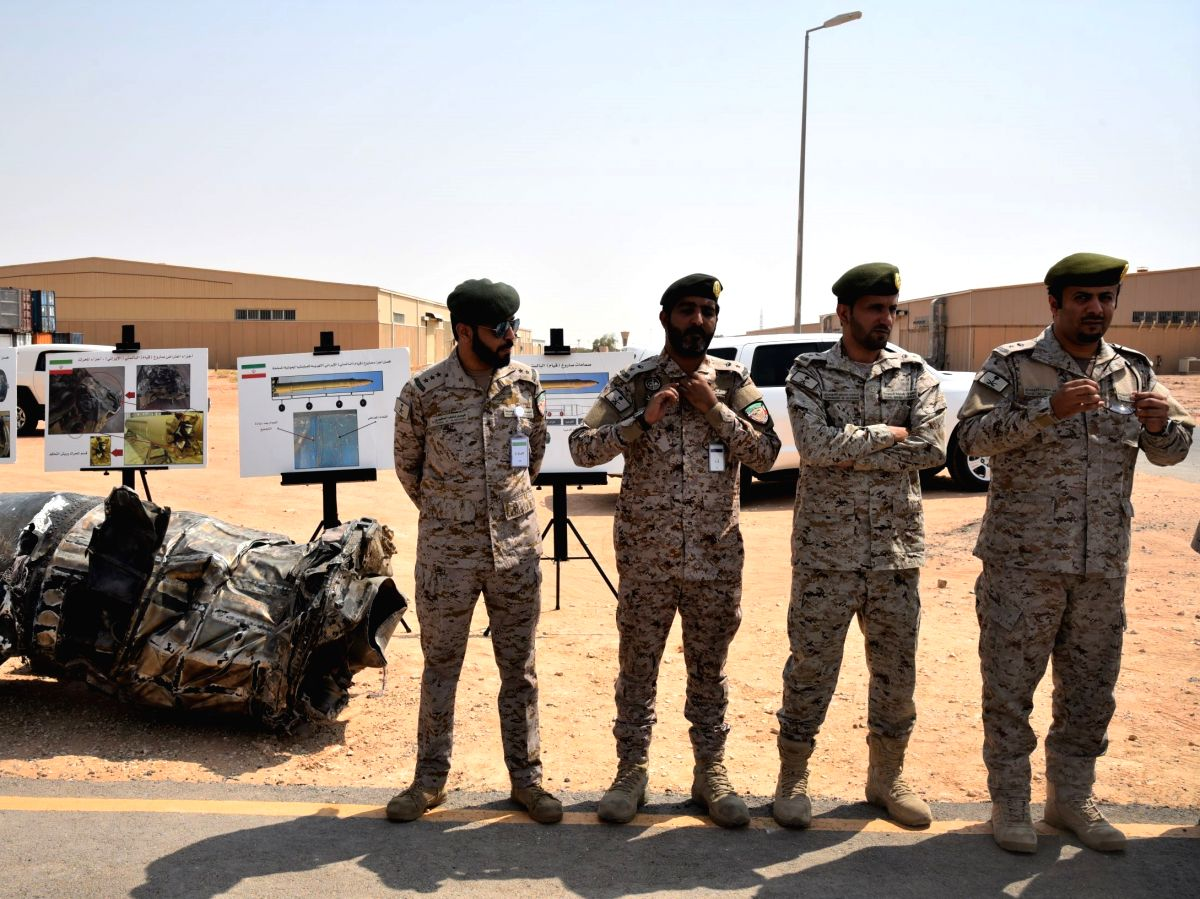 RIYADH, Sept. 5, 2019 (Xinhua) -- Saudi army officers are seen at a military facility in Al Kharj, south of Riyadh, Saudi Arabia, on Sept. 5, 2019. Saudi-led coalition involved in a war in Yemen on Thursday intercepted a drone launched by Houthis tow