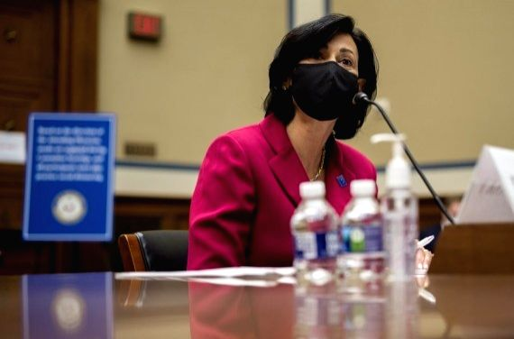 Rochelle Walensky, director of the U.S. Centers for Disease Control and Prevention (CDC), testifies during a hearing of U.S. House Select Subcommittee on the Coronavirus Crisis in Washington, D.C., the United States, on April 15, 2021.(Amr Alfiky/Poo
