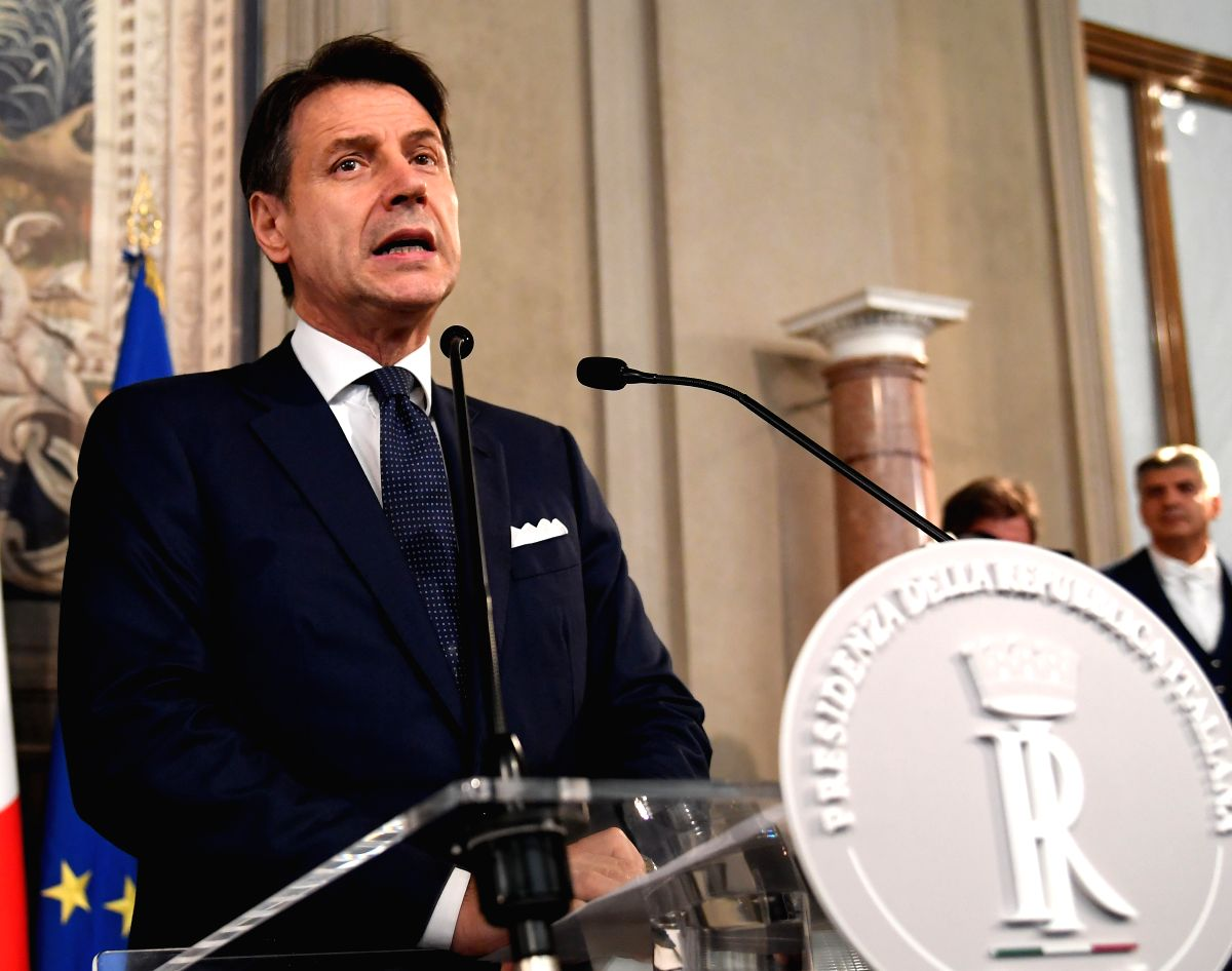 ROME, Sept. 4, 2019 (Xinhua) -- Giuseppe Conte addresses the media after he talks with Italian President Sergio Mattarella in Rome, Italy, on Sept. 4, 2019. The last major hurdle that could have blocked Giuseppe Conte from forming Italy's 67th govern