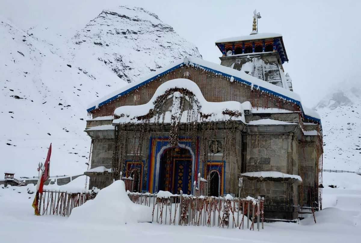 A view of Kedarnath temple after snowfall in Rudraprayag district of Uttarakhand