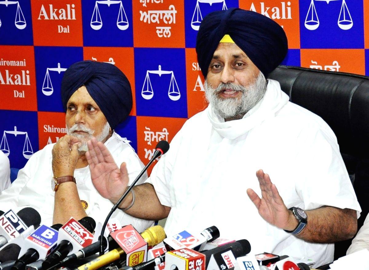 SAD President Sukhbir Singh Badal addressing an press conference in chandigarh on Saturday.