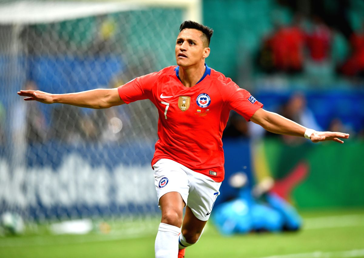SALVADOR, June 22, 2019 (Xinhua) -- Chile's Alexis Sanchez celebrates after scoring during the Group C match between Chile and Ecuador at the Copa America 2019, held in Salvador, Brazil, June 21, 2019. (Xinhua/IANS)