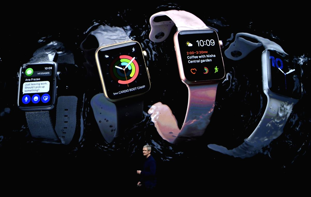 SAN FRANCISCO, Sept. 7, 2016 (Xinhua) -- Apple CEO Tim Cook introduces the new Apple Watch Series 2 during an Apple special event in San Francisco, the United States, Sept. 7, 2016. (Xinhua/IANS)