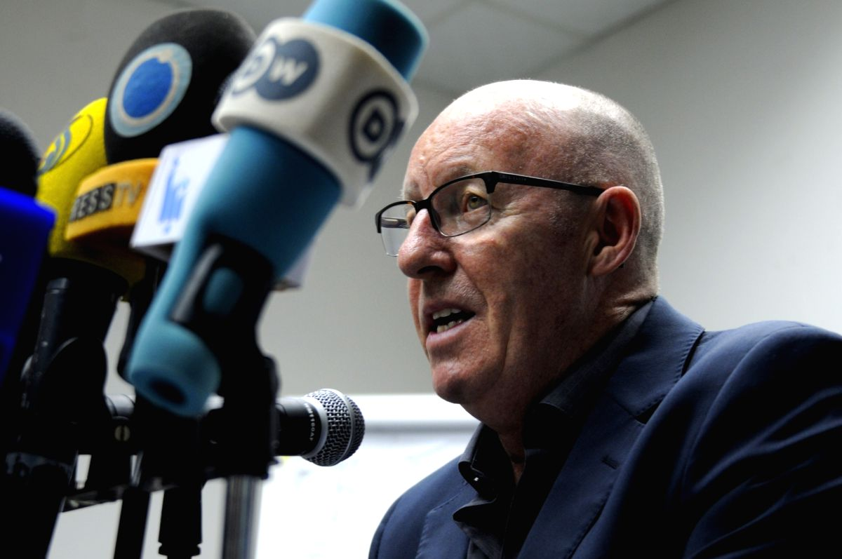 SANAA, July 6, 2017 - UN humanitarian coordinator in Yemen, Jamie McGoldrick, speaks during a press conference in Sanaa, Yemen, on July 6, 2017. Some 270,000 suspected cases have been registered and ...