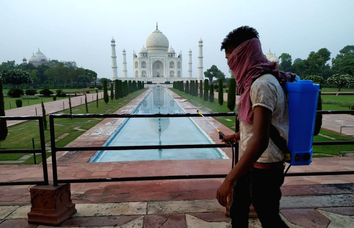 Sanitisation at Agra's Taj Mahal.