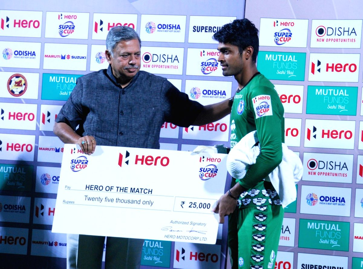 Sanjiban Ghosh of Jamshedpur FC being felicitated as 'hero of the match' during a post presentation ceremony after Jamshedpur FC prevailed 5-4 over Minerva Punjab FC in a Super Cup ...