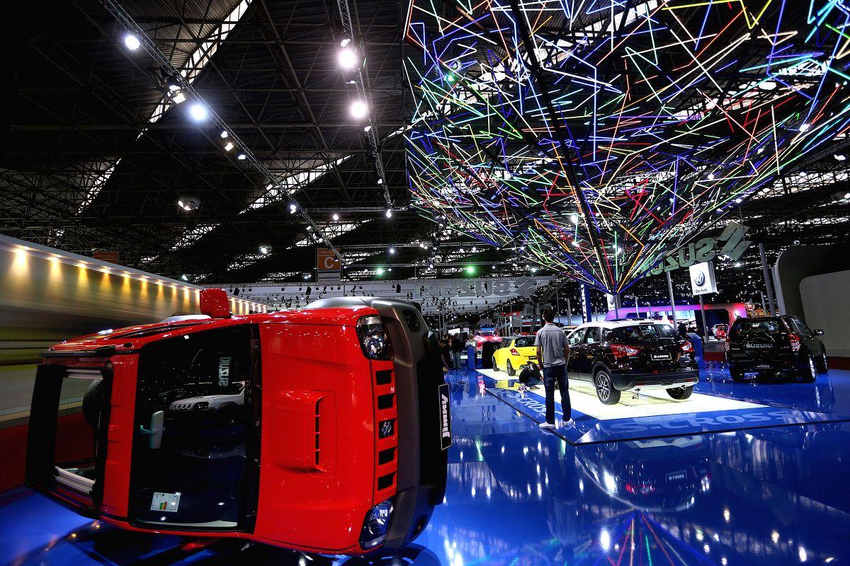 A Suzuki Jimny is displayed on the media day of the 28th Sao Paulo International Motor Show