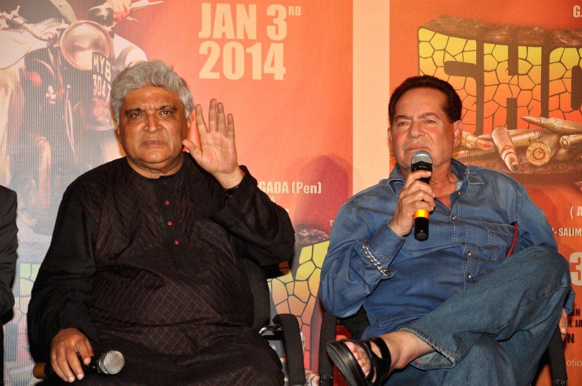 Scriptwriters Javed Akhtar and Salim Khan during the first look of film Sholay 3D at PVR Cinemas in Mumbai on November 7, 2013.