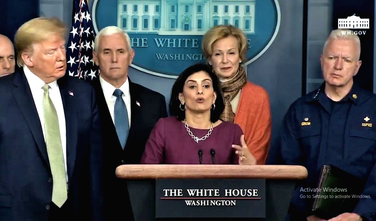 Seema Verma, the administrator of the United States Centers for Medicare and Medicaid Services and a member of the Coronavirus Task Force, speaks to the media on Tuesday, March 17, 2020, about using telemedicine to deal with the pandemic. Behind her