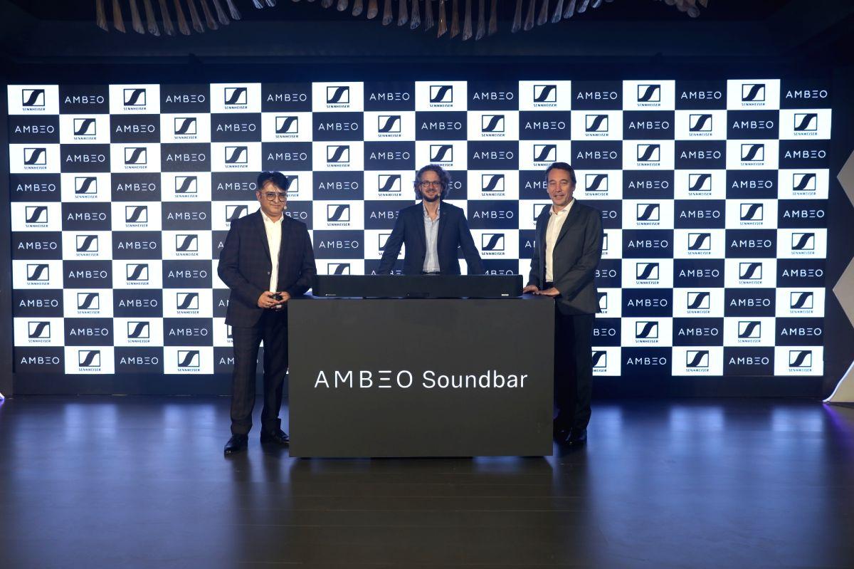 Sennheiser Electronics India Director (Consumer Segment) Kapil Gulati, Sennheiser Co-CEO Daniel Sennheiser and APAC Director Eric Denise at the launch of Sennheiser Ambeo soundbar