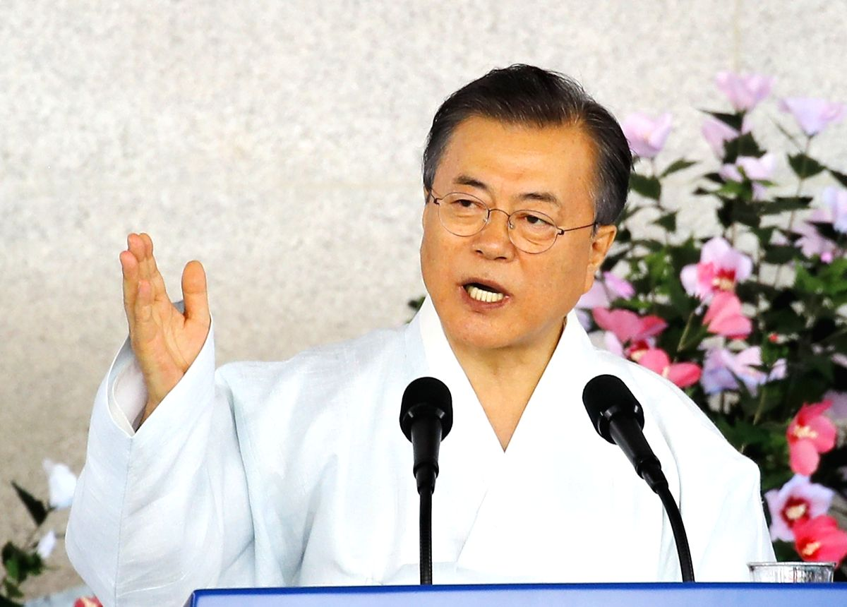 Seoul: President Moon Jae-in delivers a speech