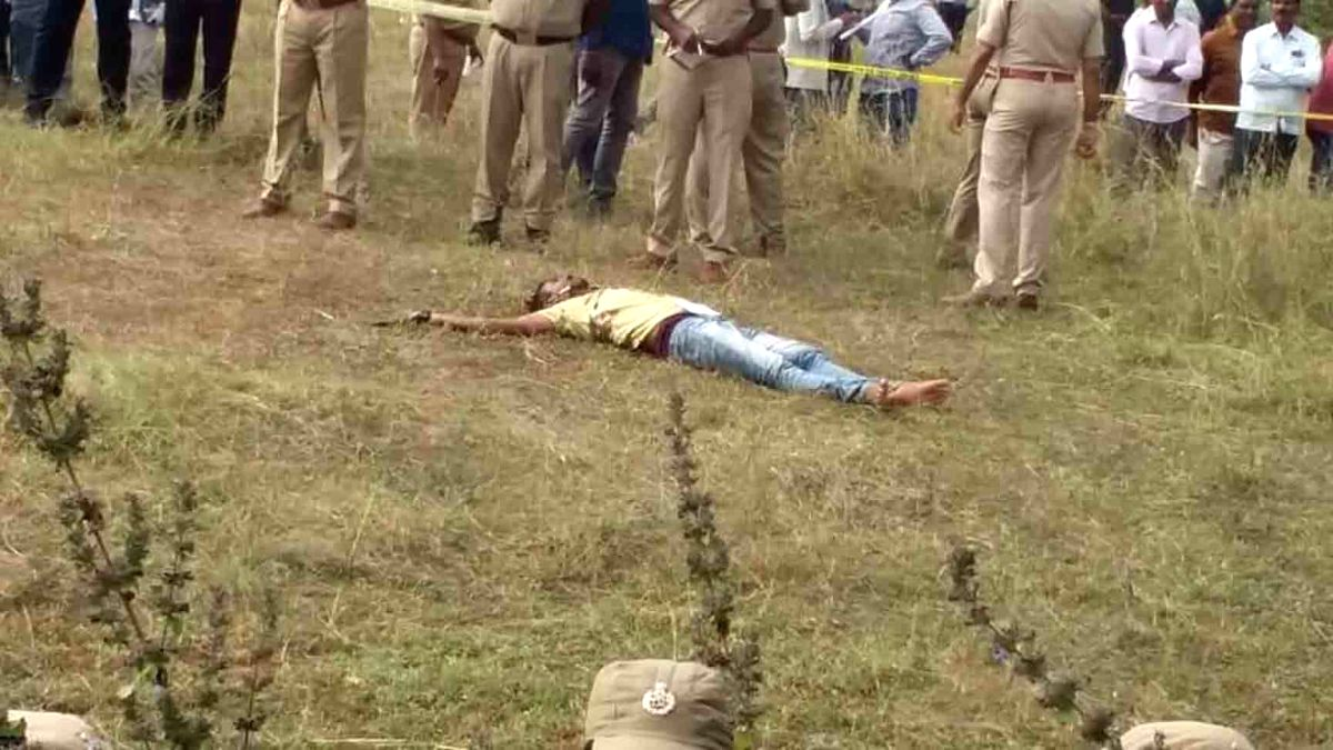 Shadnagar: Body of one of the four accused in the gang rape and murder of young veterinarian in Hyderabad, killed in a police encounter near Shadnagar town of Telangana's Ranga Reddy district on Dec 6, 2019.
