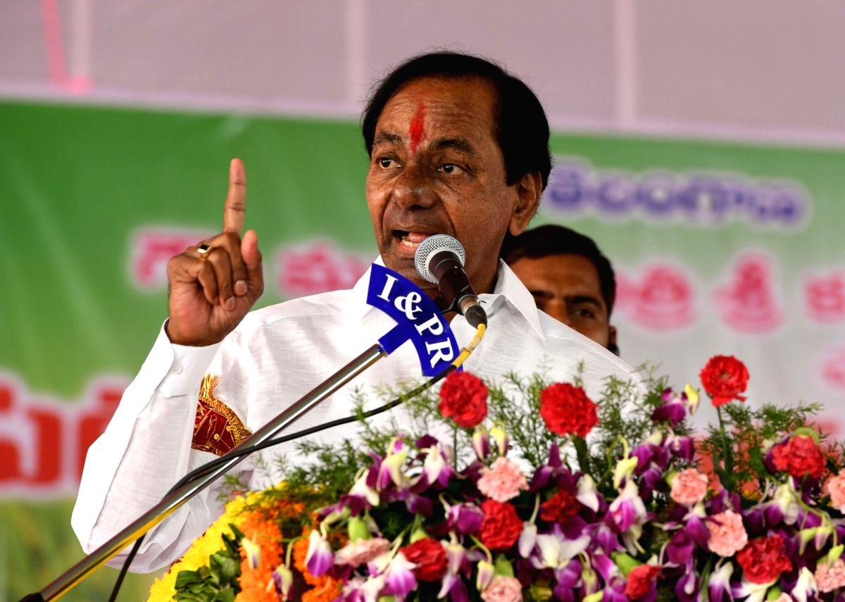 Shalapally Indiranagar: Telangana Chief Minister K. Chandrashekhar Rao addresses after launching Rythu Bandhu at Shalapally Indiranagar in Karimnagar district of Telangana on May 10, 2018.