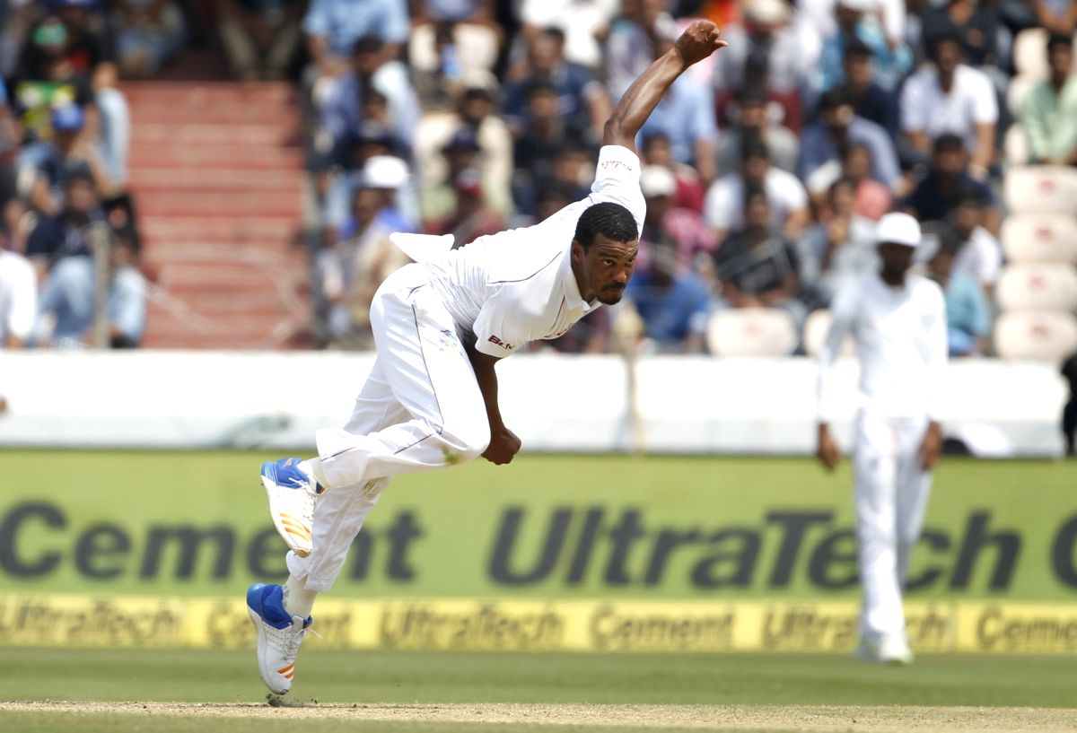 Shannon Gabriel of West Indies in action  (Photo: Surjeet Yadav/IANS)