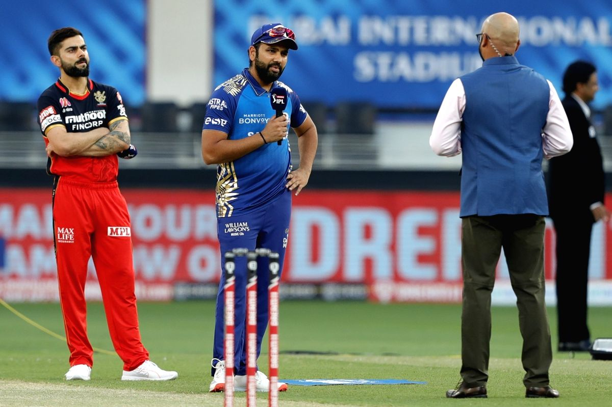 Sharjah: Rohit Sharma captain of Mumbai Indians talking with tv presenter after winning the toss during match 10 of season 13 of the Dream 11 Indian Premier League (IPL) between The Royal Challengers Bangalore and The Mumbai Indians held at the Dubai
