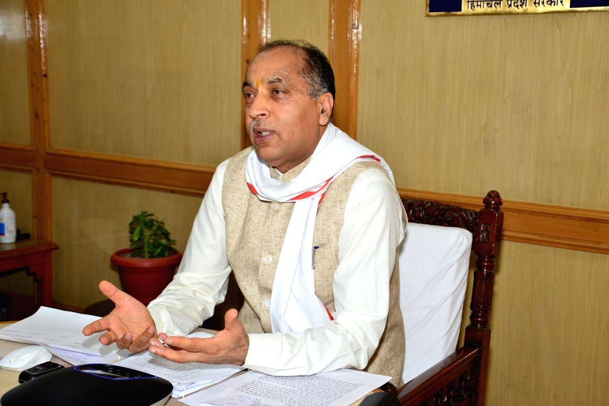Shimla: Himachal Pradesh Chief Minister Jai Ram Thakur inaugurates and lays foundation stones for development projects worth Rs. 120.66 crore in Kotkhai area of Jubbal-Kotkhai assembly constituency of Shimla district through video conferencing from S