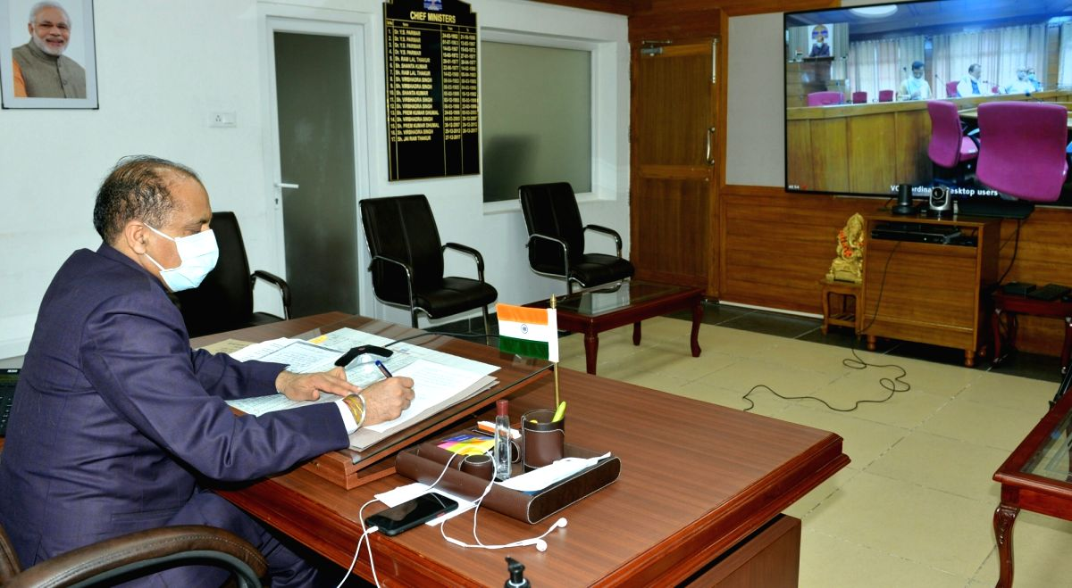 Shimla: Himachal Pradesh Chief Minister Jai Ram Thakur presides over the first meeting of Himachal Pradesh Sanskrit Academy through video conferencing, from Shimla on July 27, 2020.
