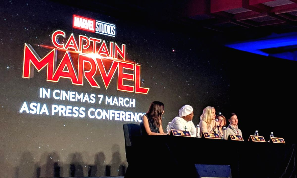 """Actors Gemma Chan, Samuel L. Jackson, Brie Larson with directors Ryan Fleck and Anna Boden during a press conference regarding their upcoming film """"Captain Marvel"""" in Singapore"""