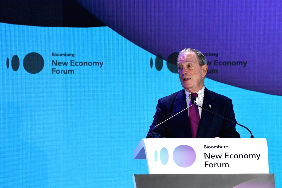 SINGAPORE, Nov. 6, 2018 (Xinhua) -- Michael Bloomberg, the founder of the New Economy Forum, delivers the opening remarks at the forum in Singapore on Nov. 6, 2018. The first ever New Economy Forum kicked off here on Tuesday to lay out private sector
