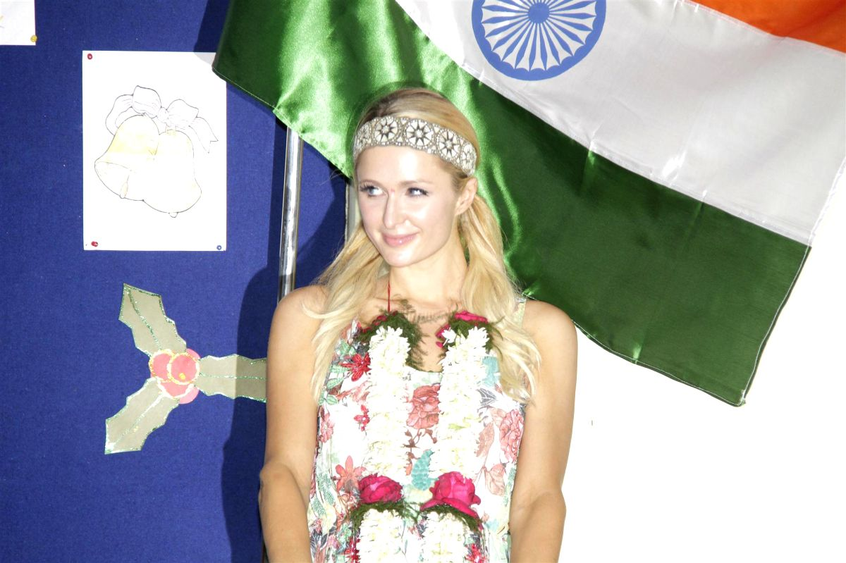 Socialite Paris Hilton visits Ashray NGO an orphanage Committed Communities Development Trust (CCDT) in Bandra, Mumbai.