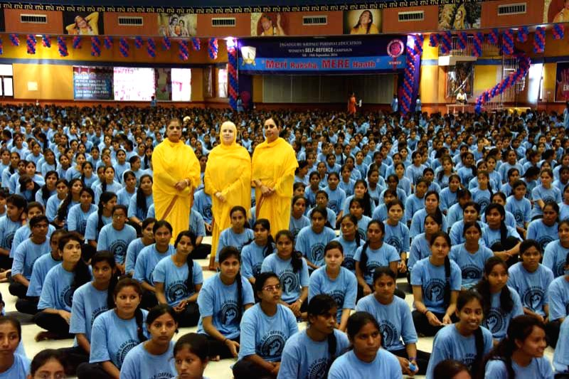 Some 5,700 girls of Jagadguru Kripalu Parishat (JPK) Education try for an entry into Limca Book of Records for the largest largest self-defence demonstration at Mangarh in Pratapgarh District of ...