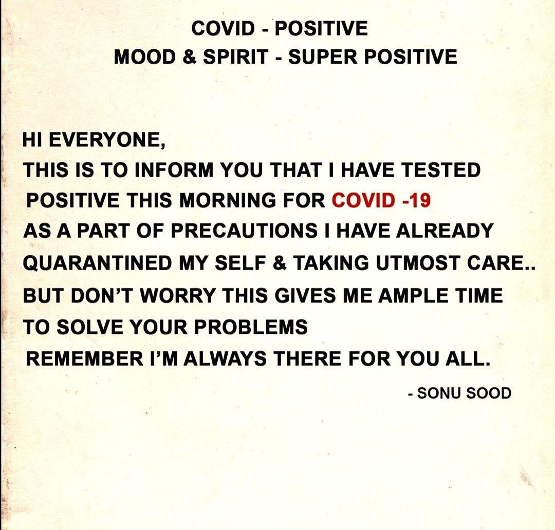Sonu Sood tests Covid positive.(photo:Instagram)