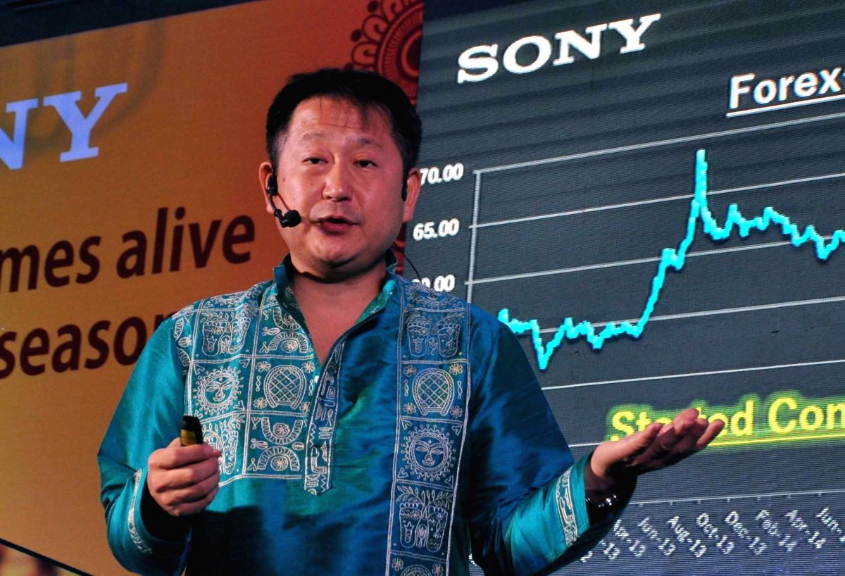 Sony India Pvt Ltd Managing Director Kenichiro Hibi addresses during a press conference to announce SONY's sales strategy and investment plan in Kolkata on Aug 17, 2017.