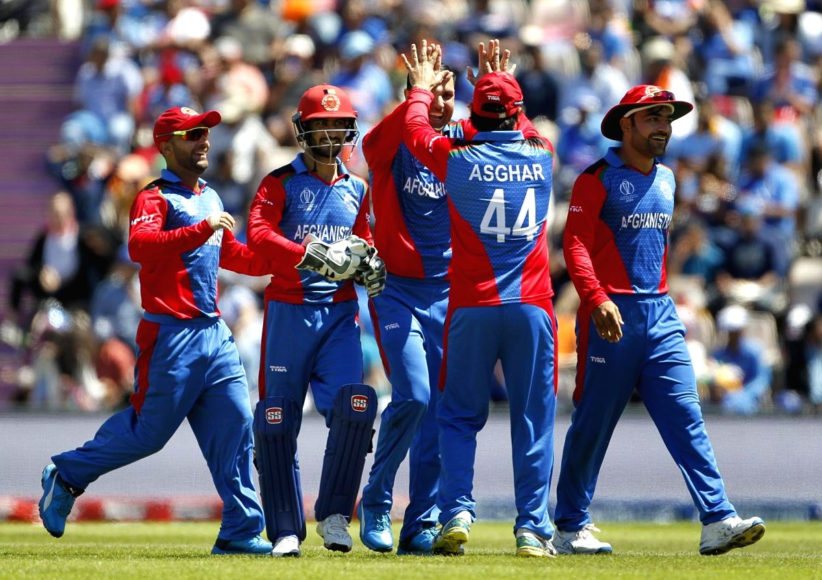 Southampton: Afghanistan's Mohammad Nabi celebrates fall of Virat Kohli's wicket during the 28th match of World Cup 2019 between India and Afghanistan at The Rose Bowl in Southampton, England on June 22, 2019. (Photo: Surjeet Yadav/IANS)