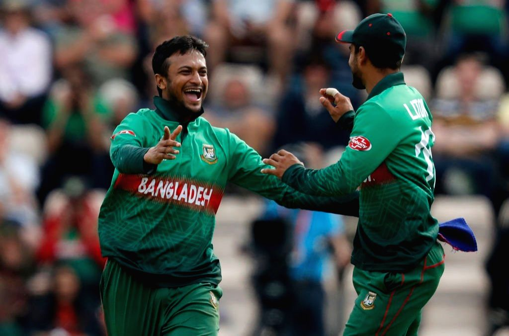 Southampton: Bangladesh's Shakib Al Hasan celebrates fall of a wicket during the 31st match of 2019 World Cup between Afghanistan and Bangladesh at the Rose Bowl in Southampton, England on June 24, 2019. (Photo Credit: Twitter/@cricketworldcup)