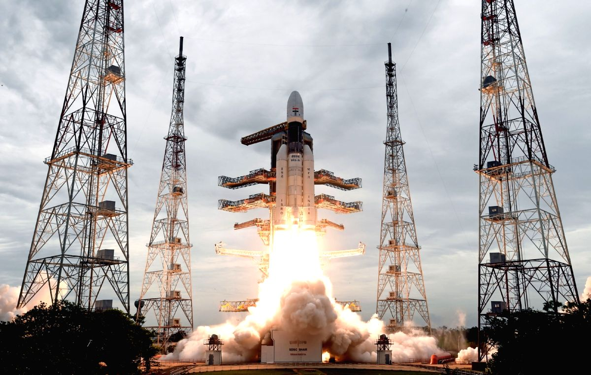 Sriharikota: India moved towards its second tryst with the moon as ISRO's heavy lift rocket - the Geosynchronous Satellite Launch Vehicle-Mark III (GSLV-Mk III) - carrying the 3,850 kg Chandrayaan-2 spacecraft, blasted off from the Sriharikota spacep