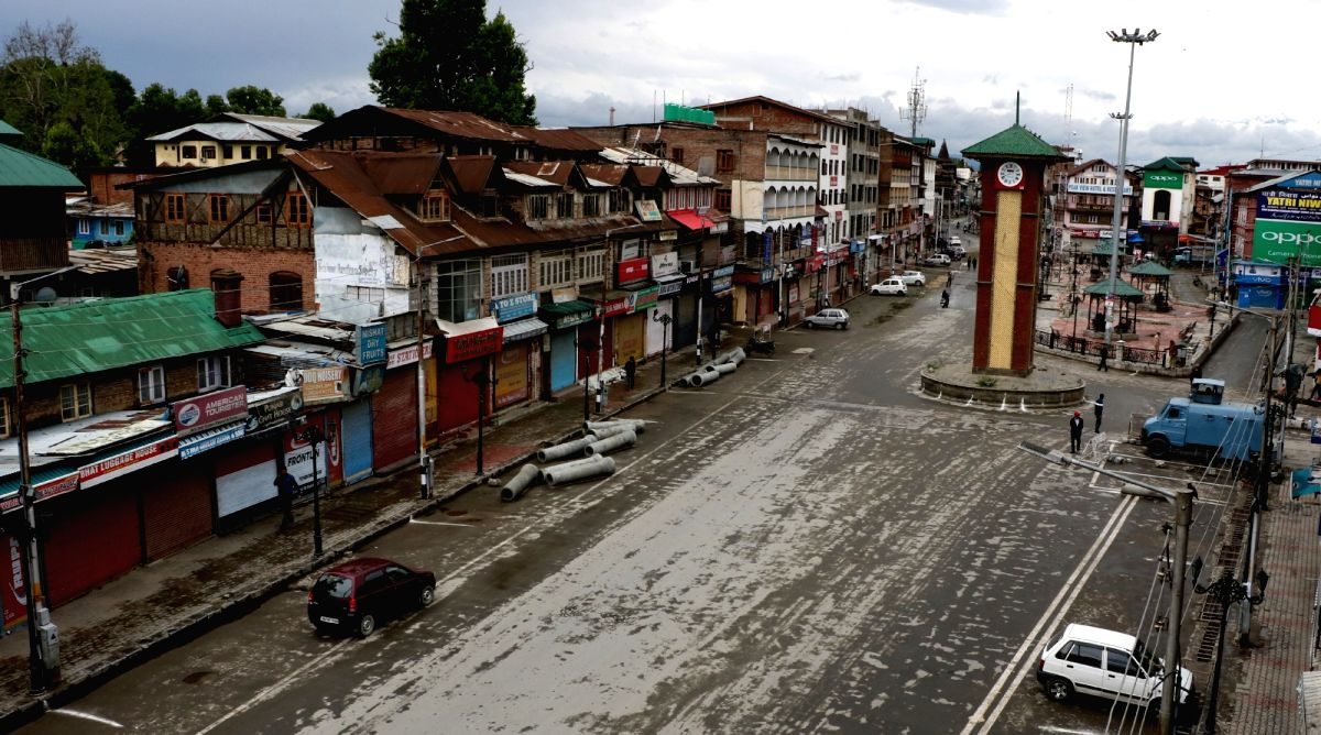 Srinagar: A view of deserted Lal Chowk as authorities imposed restrictions in parts of Srinagar and some other places in the valley to prevent separatist-called protests and a sit-in outside the Civil Secretariat on May 7, 2018.