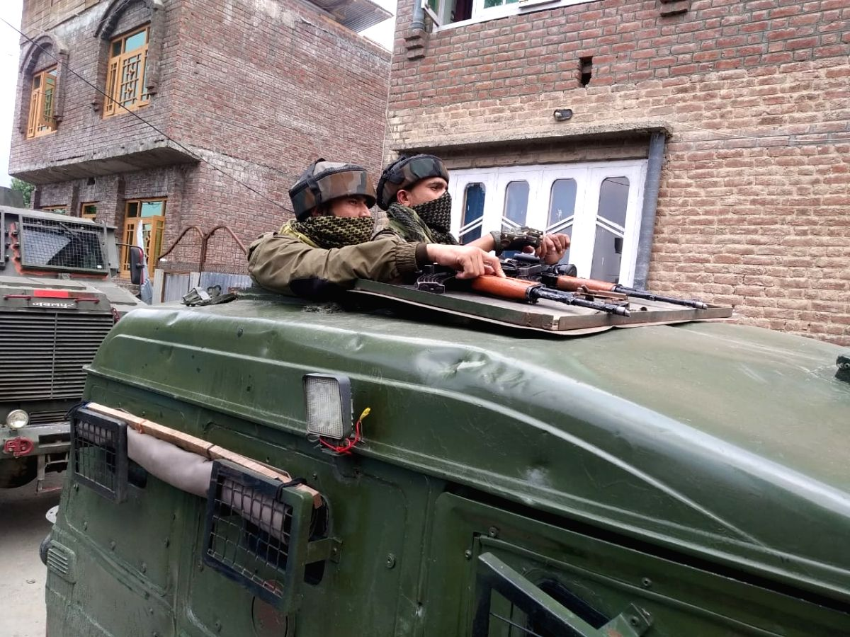 Srinagar: Another terrorist has been killed in an ongoing encounter between terrorists and security forces at Khanmoh on the outskirts of Srinagar on Monday.(Photo: Nissar Malik/IANS)
