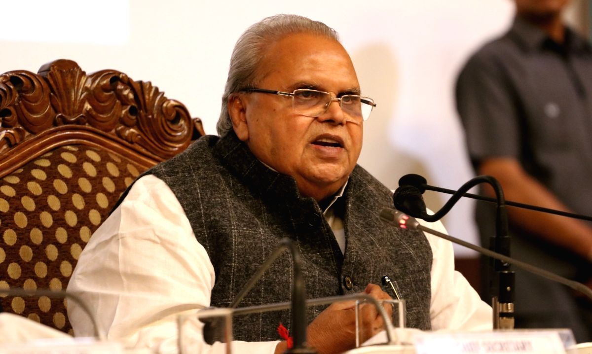 Srinagar: Jammu and Kashmir Governor Satya Pal Malik addresses a press conference at Sher-i-Kashmir International Conference Centre (SKICC) in Srinagar, on June 12, 2019.