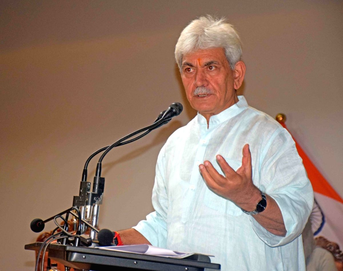 Srinagar: Jammu and Kashmir Lt Governor Manoj Sinha addresses a press conference at the Raj Bhavan in Srinagar on Sep 14, 2020. Sinha on Monday said that a package will be announced in a week for the revival of the Union Territory's economy. He said