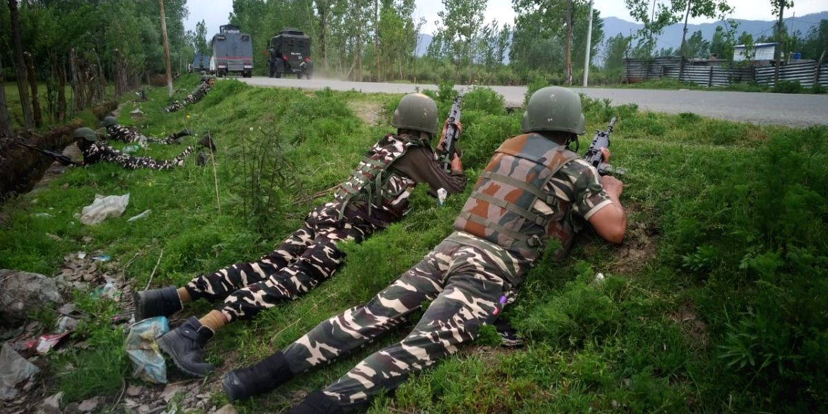 Srinagar, May 4 (IANS) Three CRPF men were among the four persons killed after terrorists attacked a CRPF party at Handwara in north Kashmir on Monday.