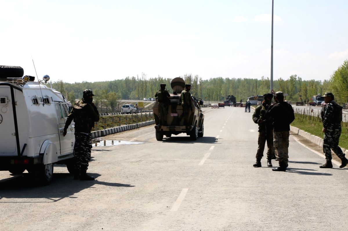 Srinagar: Security beefed up at Jammu and Kashmir National Highway (NH 44) after Jammu and Kashmir government had announced that no civilian traffic will be allowed on the Jammu-Srinagar highway on Sundays and Wednesdays from 4 a.m. to 5 p.m. to ensu